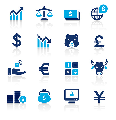 Banking and Finance Two Color Icons Set