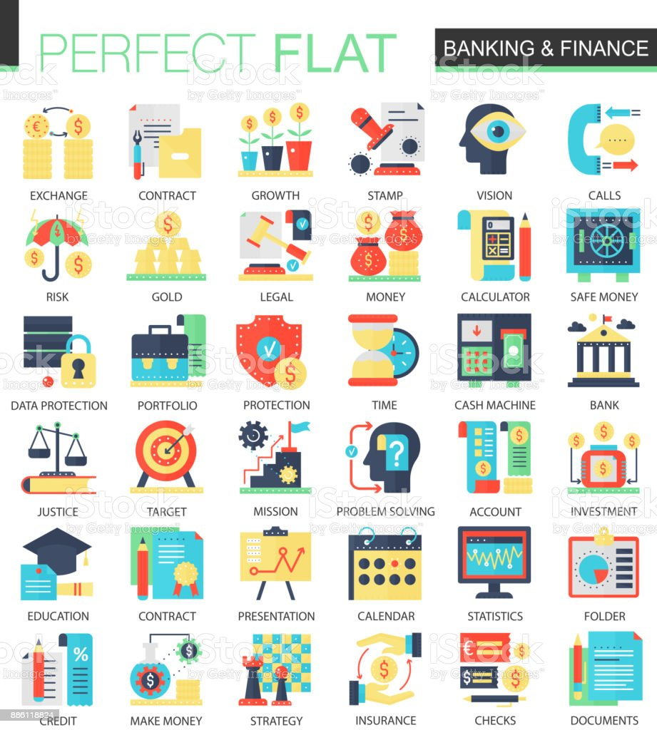 Banking And Finance Vector Complex Flat Icon Concept Symbols For Web