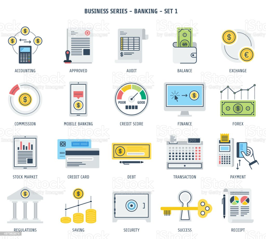 Banking and Financial Investment Icon Set vector art illustration