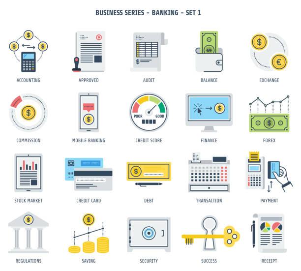 банковских и финансовых инвестиций иконы set - dollar bill stock illustrations