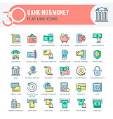 Set of filled outline multicolor icons on following themes - finance, banking, internet banking, mobile banking and other. Each icon neatly designed on pixel perfect 32X32 size grid. Perfect for use in: website, presentation, promotional materials, illustrations, infographics and much more.