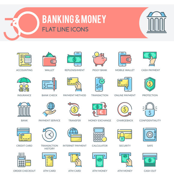 Banking and Money Icons Set of filled outline multicolor icons on following themes - finance, banking, internet banking, mobile banking and other. Each icon neatly designed on pixel perfect 32X32 size grid. Perfect for use in: website, presentation, promotional materials, illustrations, infographics and much more. banking icons stock illustrations