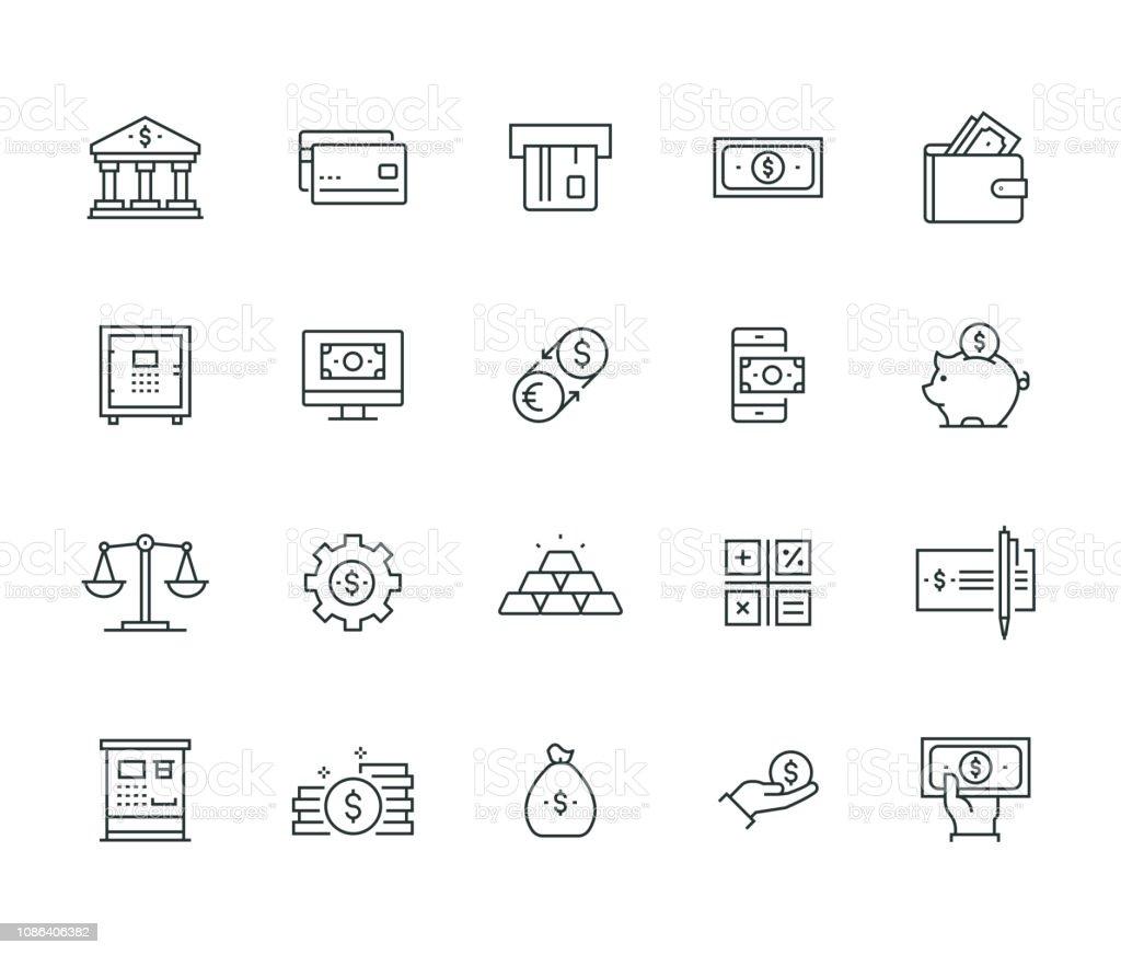 Serie delgada línea banca y dinero - ilustración de arte vectorial