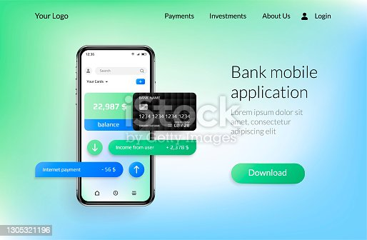 istock Banking app landing page. Mobile payment and financial account, smartphone UI for online bank application. Vector realistic website interface with copy space and button for download 1305321196