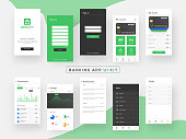 Banking App UI Kit for responsive mobile app or website with different GUI layout including Login, Create Account, Profile, Transaction and Notification screens.