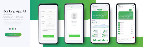 banking app ui, ux kit for responsive mobile app or website with different gui layout including login, create account, profile, transaction and notification screens. vector illustration - graficzny interfejs użytkownika stock illustrations