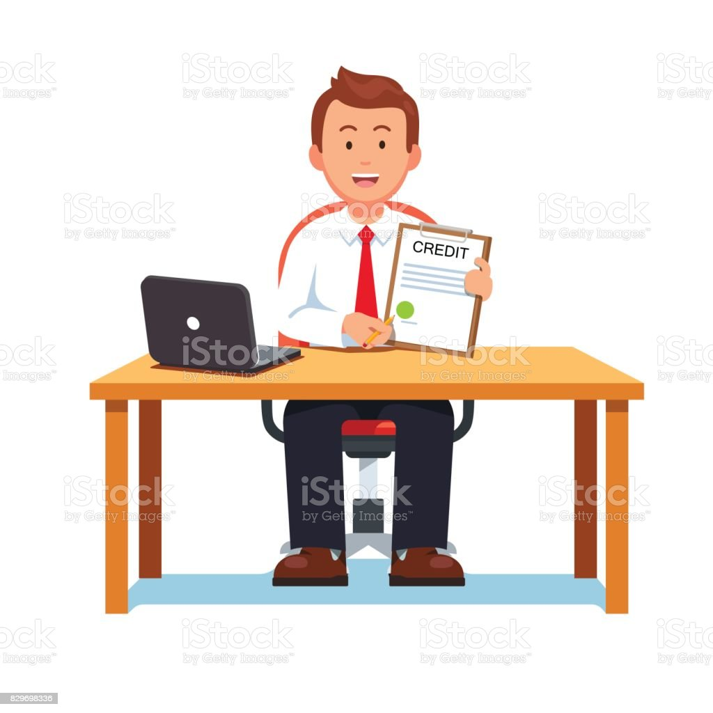 Banking clerk showing bank credit or loan contract vector art illustration
