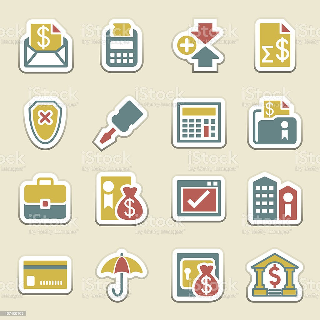 Banking color icons. royalty-free stock vector art