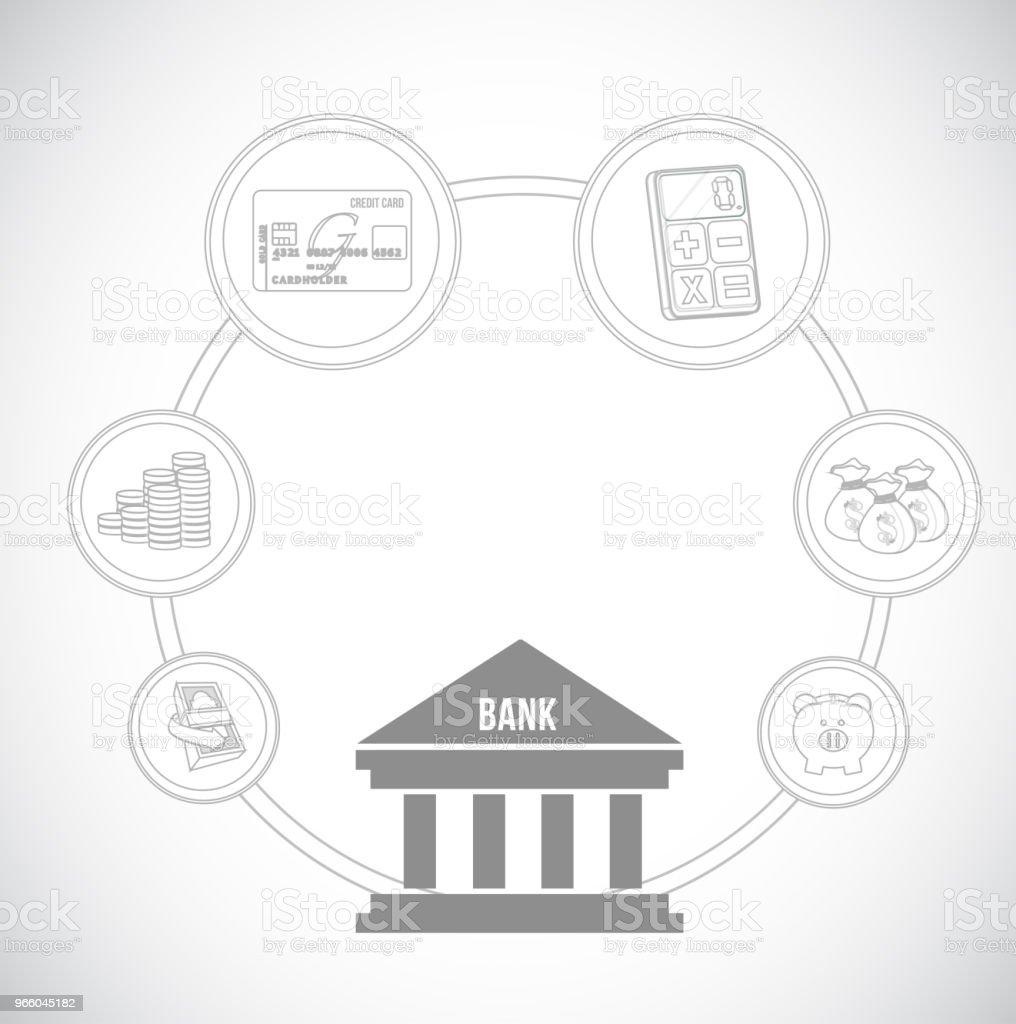 Banking-Konzept-Symbole. Vektor-Illustration. - Lizenzfrei Abstrakt Vektorgrafik