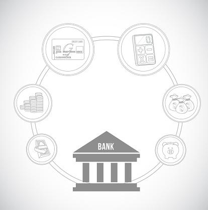 Bankingkonzeptsymbole Vektorillustration Stock Vektor Art und mehr Bilder von Abstrakt
