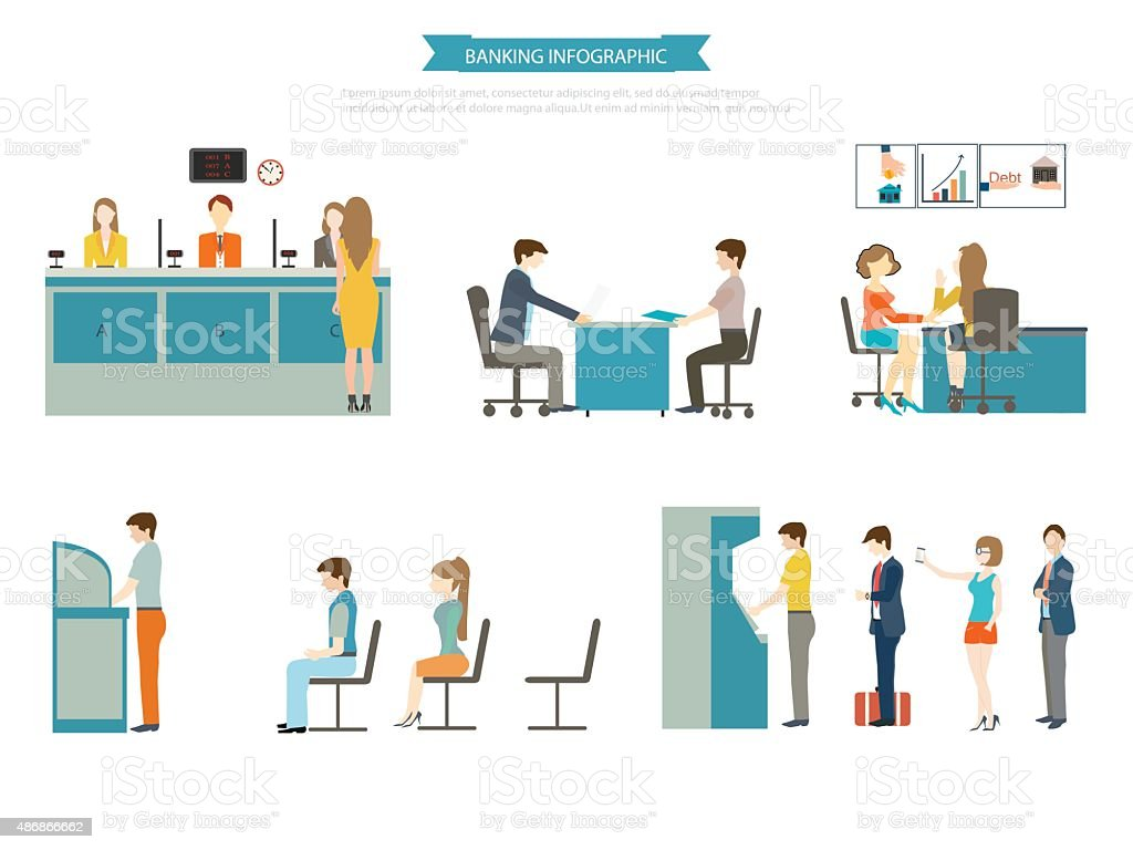 Banking concept set. vector art illustration