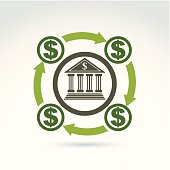 Banking credit and deposit money theme icon, vector