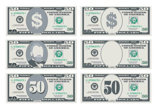 USA banking currency, cash symbol 50 dollars bill. USA banking currency, cash symbol 50 dollars bill. Money set, paper banknotes fifty dollars. Vector illustration in simple, flat style in six variants. Isolated on white background. Horizontal. us currency stock illustrations