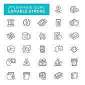 Money line icons, Currency, Coin, Bank, Coin Bank, Calculator, Editable Stroke Icon Set