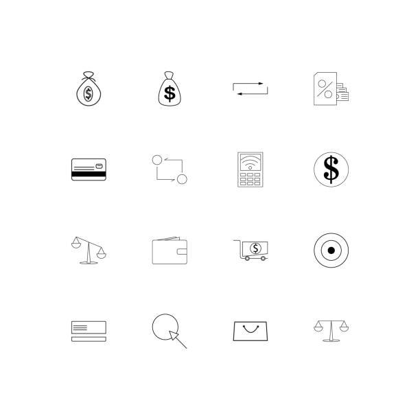 Banking, Finance And Money linear thin icons set. Outlined simple vector icons vector art illustration