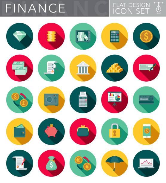 illustrations, cliparts, dessins animés et icônes de jeu d'icônes design plat bancaire & finances avec côté ombre - tirelire
