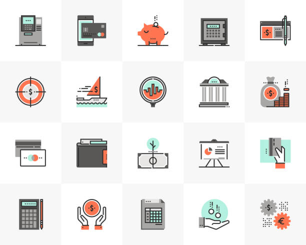 Banking Finance Futuro Next Icons Pack Flat line icons set of banking services, investment strategy. Unique color flat design pictogram with outline elements. Premium quality vector graphics concept for web, logo, branding, infographics. safety deposit box stock illustrations