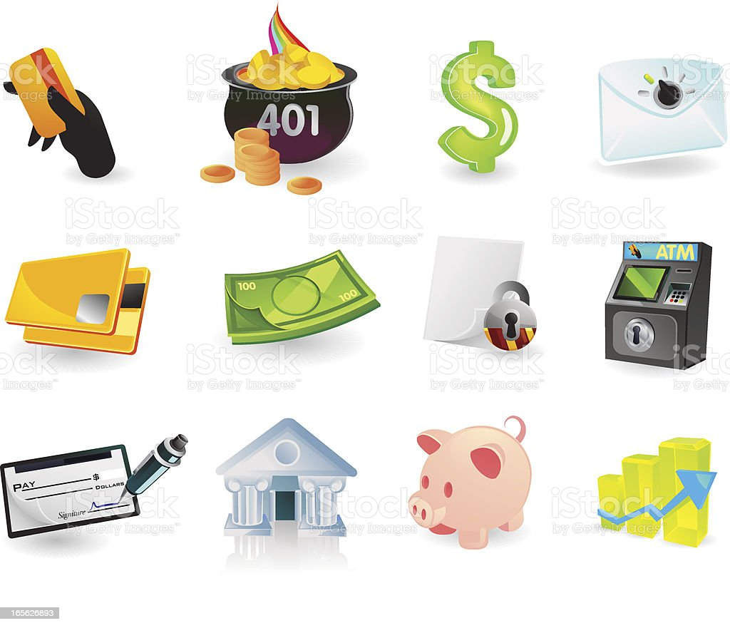 Banking & Finance Icons royalty-free banking finance icons stock vector art & more images of atm