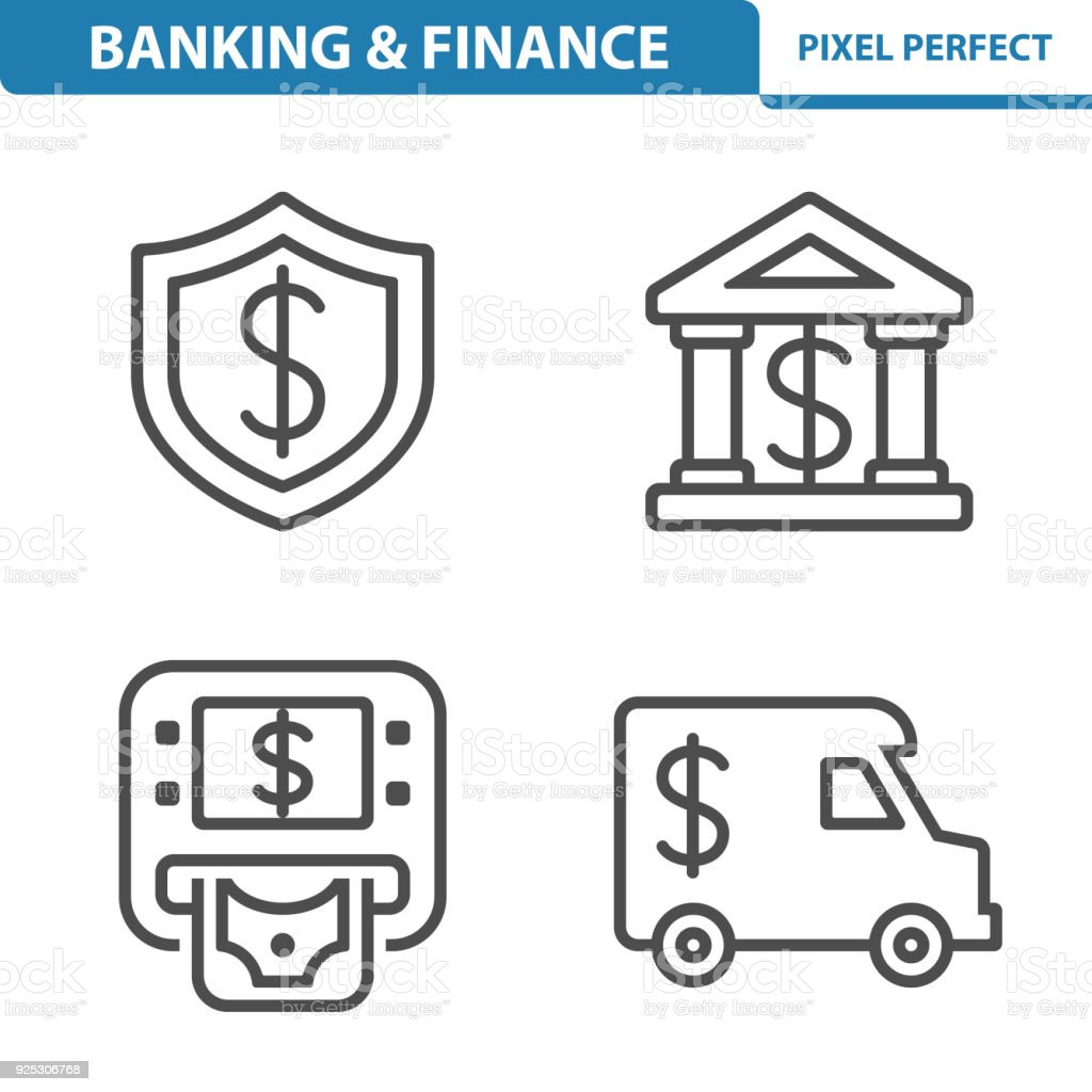 Banking & Finance Icons vector art illustration
