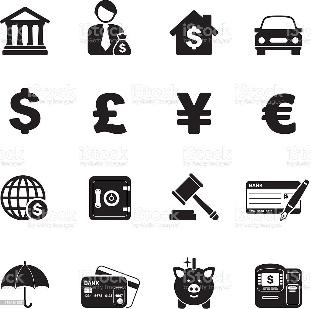 Banking & Finance icons | White or Black series vector art illustration