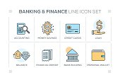 Banking & Finance chart with keywords and line icons