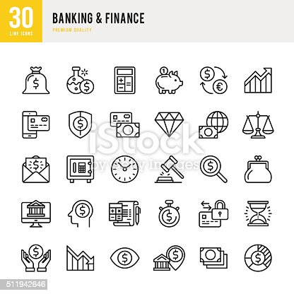 Banking & finance set of 30 line vector icons.