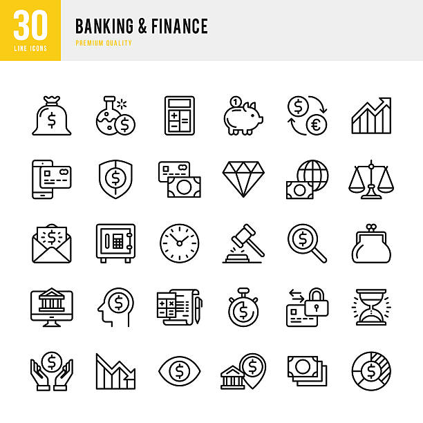 Banking & Finance - Thin Line Icon Set Banking & finance set of 30 line vector icons. change purse stock illustrations