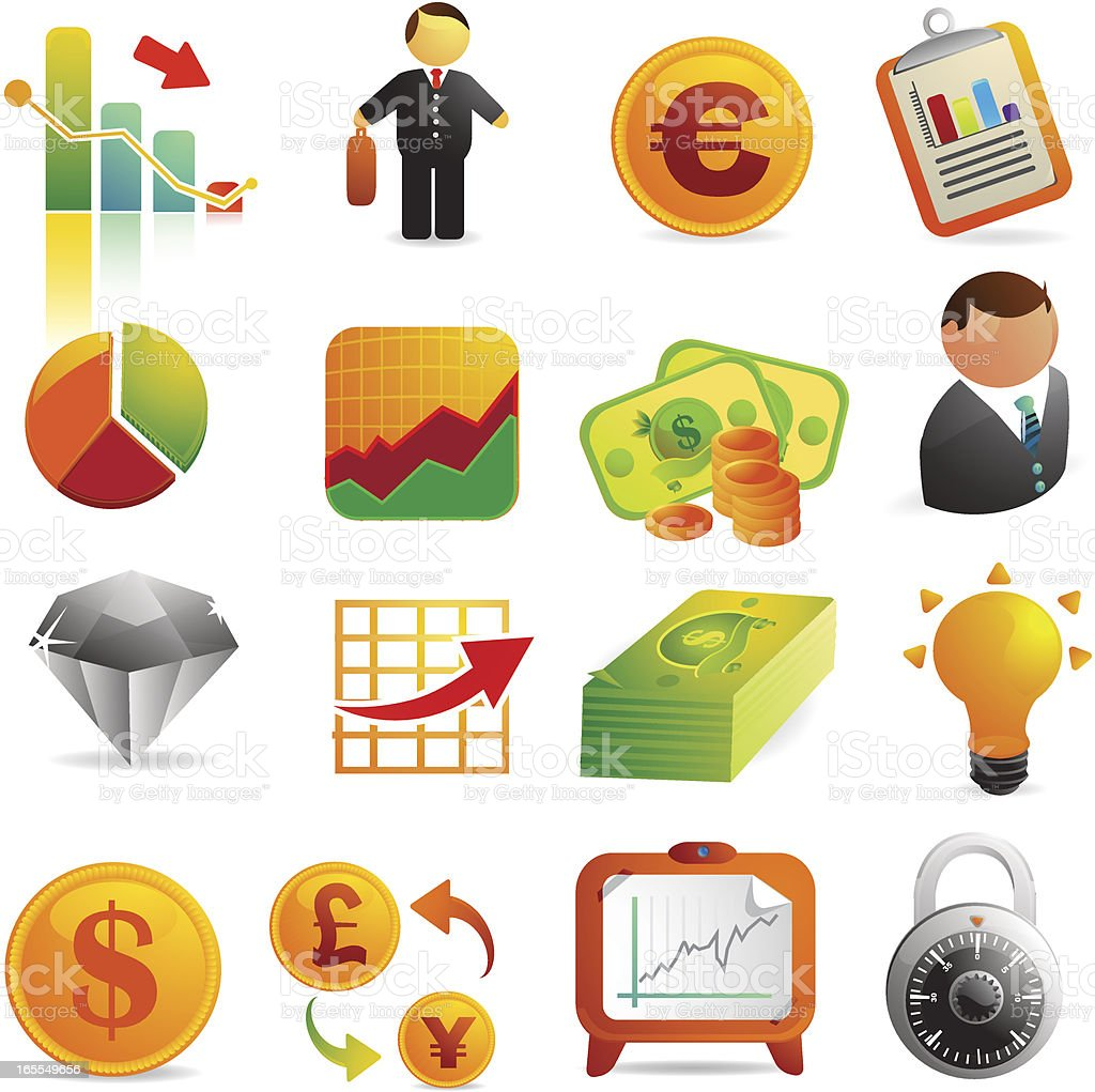 Banking & Finance Web Icons vector art illustration