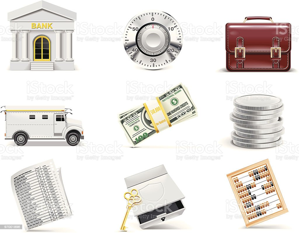 Banking icon set vector art illustration