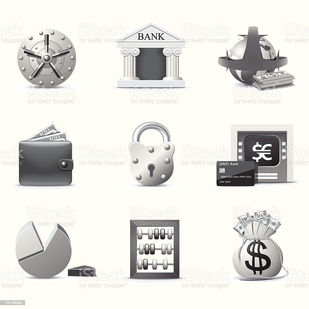 Banking icons | B&W series royalty-free stock vector art