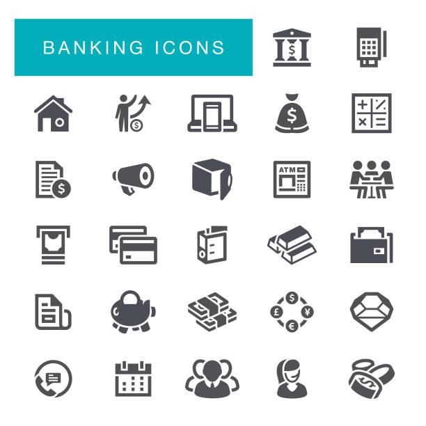 ilustrações, clipart, desenhos animados e ícones de ícones de bancário  - banco edifício financeiro