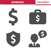 Professional, pixel perfect icons depicting various banking, money and finance concepts.