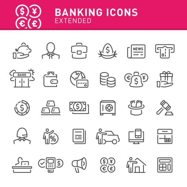 bildbanksillustrationer, clip art samt tecknat material och ikoner med banking ikoner - bo