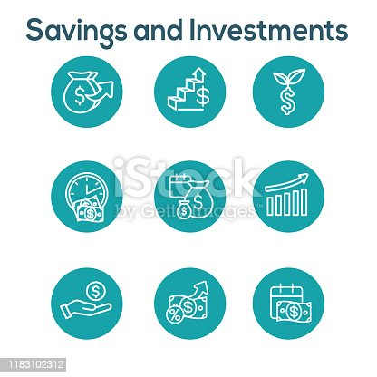Banking, Investments and Growth Icon Set w Dollar Symbols, etc