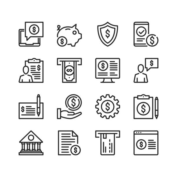 Banking line icons. Modern stroke, linear elements. Outline symbols collection. Premium quality. Pixel perfect. Vector thin line icons set vector art illustration
