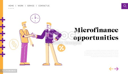 Banking Loan, Deal Landing Page Template. Man Borrower Shaking Hand with Employee Character Taking Debt in Bank or Micro Credit Organization. Finance Problem Quick Solution. Linear Vector Illustration