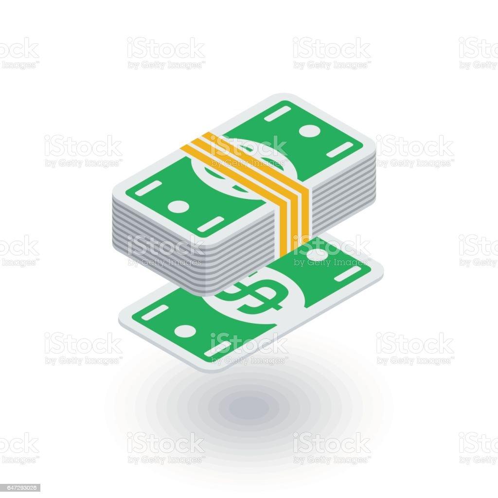 banking, money bundle, dollar banknotes isometric flat icon. 3d vector vector art illustration