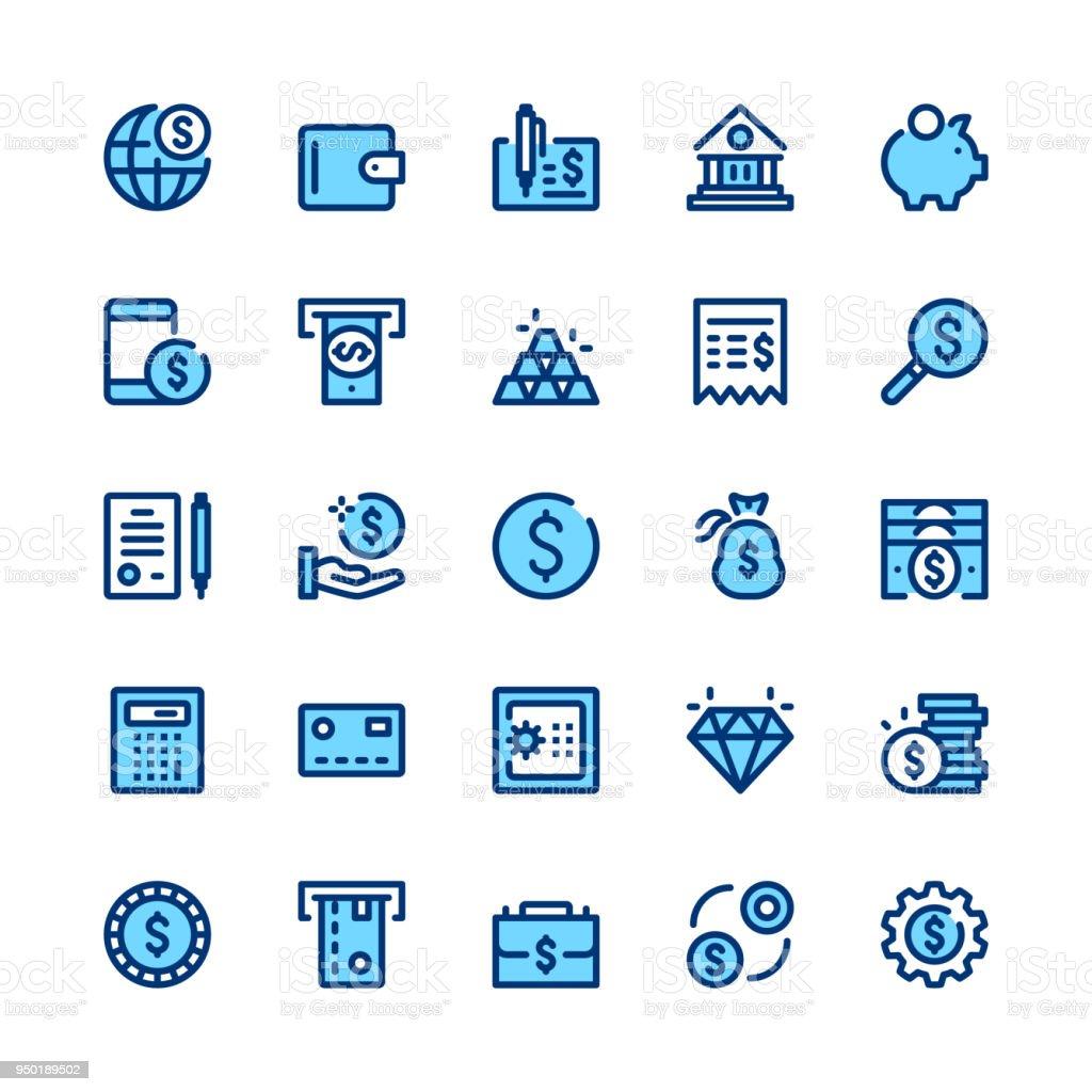 Bancário, dinheiro, finanças linha conjunto de ícones. Conceitos de design gráfico moderno, símbolos simples, elementos de traço linear web, coleção de pictogramas. Design de mínima da linha fina. Qualidade Premium. Pixel-perfeito. Ícones de contorno de vetor - Vetor de Aplicação móvel royalty-free