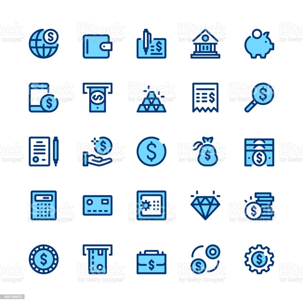 Banking, money, finance line icons set. Modern graphic design concepts, simple symbols, linear stroke web elements, pictograms collection. Minimal thin line design. Premium quality. Pixel perfect. Vector outline icons vector art illustration
