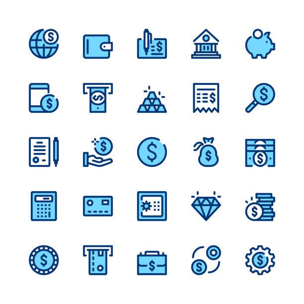 illustrations, cliparts, dessins animés et icônes de banque, argent, finances ligne icônes ensemble. concepts de design graphique moderne, symboles simples, éléments web course linéaire, collection de pictogrammes. conception mince minime. de qualité supérieure. pixel perfect. icônes des grandes lignes vectorielles - tirelire