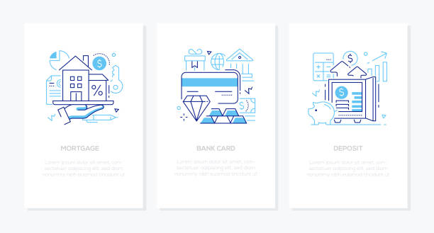 Banking products and services - line design style banners set vector art illustration