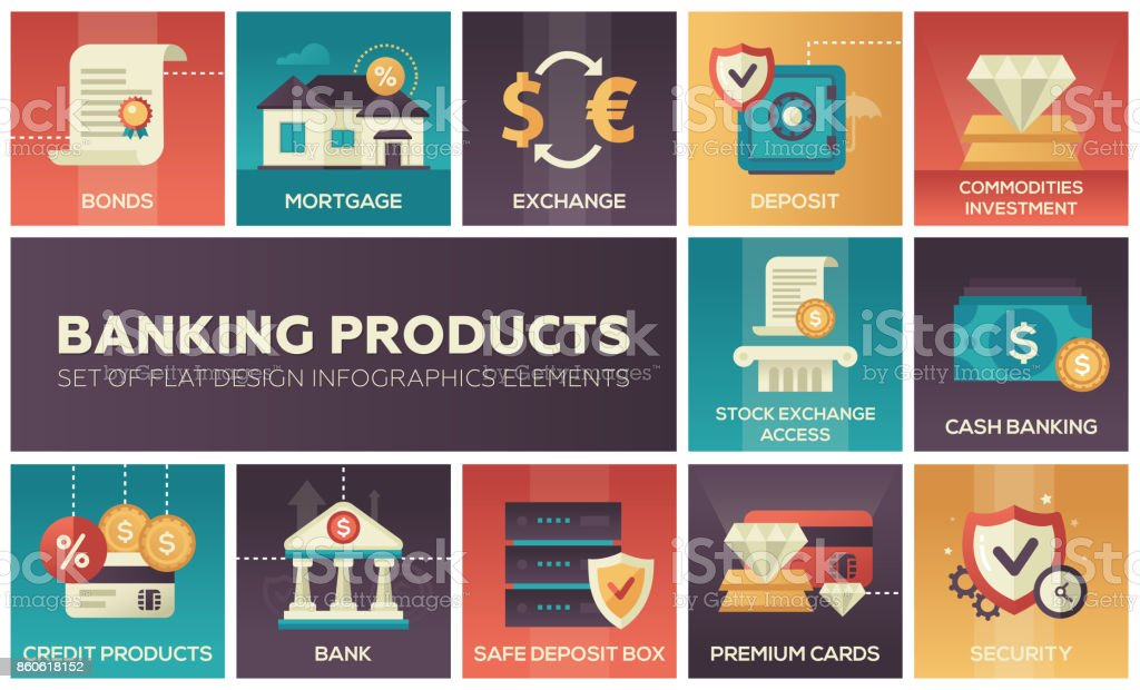 Productos - conjunto de elementos de diseño plano infografía de banca - ilustración de arte vectorial