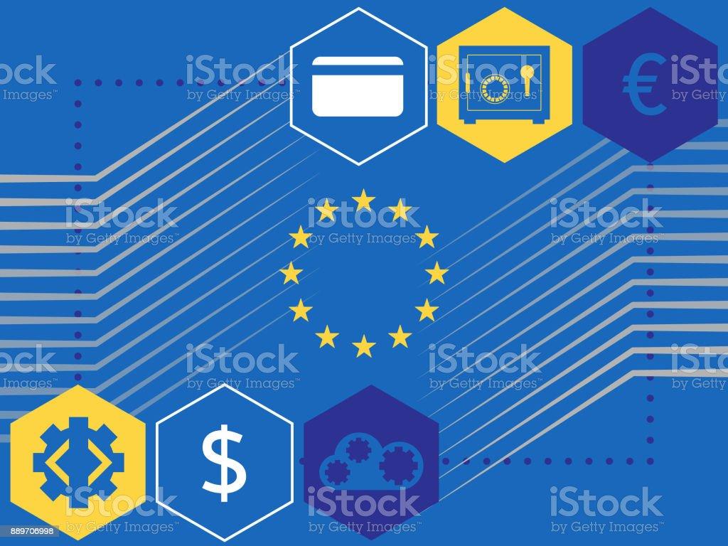 PSD2 - EU Banking van verordeningvectorkunst illustratie