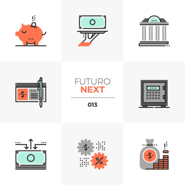 Banking Services Futuro Next Icons Semi-flat icons set of banking services, wealth management account. Unique color flat graphics elements with stroke lines. Premium quality vector pictogram concept for web, branding, infographics. safety deposit box stock illustrations