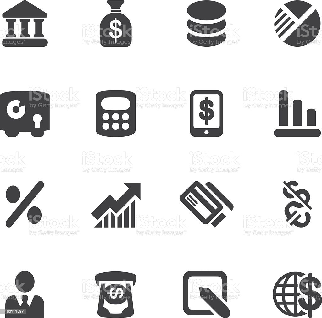 Banking Silhouette icons| EPS10 vector art illustration