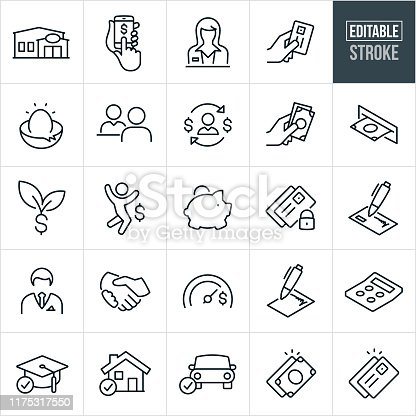 A set of banking icons that include editable strokes or outlines using the EPS vector file. The icons include a bank, credit union, online banking, banking from a smartphone, bank teller, nest egg, savings, loan officer, credit card, cash, atm machine, piggy bank, secure banking, check, banker, handshake, loans, savings goals, contract, calculator, education loan, home mortgage loan, car loan and other related icons.