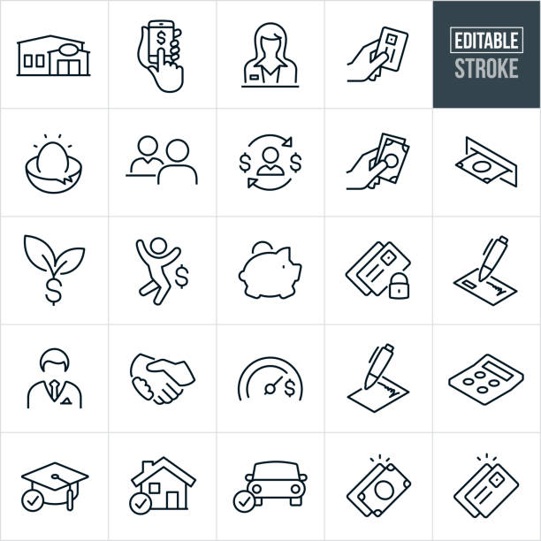 Banking Thin Line Icons - Editable Stroke A set of banking icons that include editable strokes or outlines using the EPS vector file. The icons include a bank, credit union, online banking, banking from a smartphone, bank teller, nest egg, savings, loan officer, credit card, cash, atm machine, piggy bank, secure banking, check, banker, handshake, loans, savings goals, contract, calculator, education loan, home mortgage loan, car loan and other related icons. nest egg stock illustrations