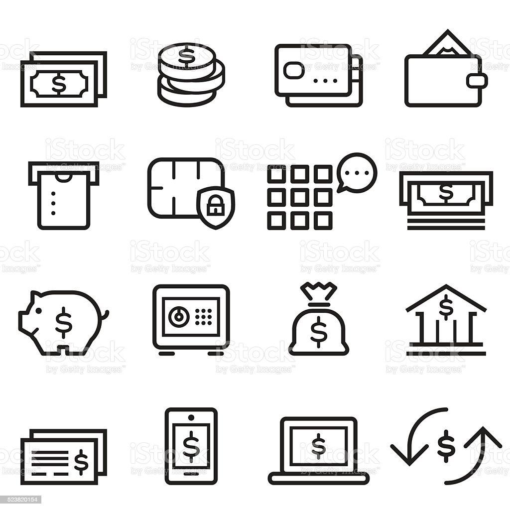 Banking Thin Line Icons vector art illustration