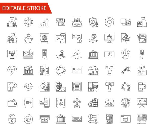 Banking Vector Icon Set. Banking Vector Icon Set. Thin Line Vector Illustration. Adjust stroke weight - Expand to any Size - Easy Change Colour - Editable Stroke - Pixel Perfect - Vector bank stock illustrations