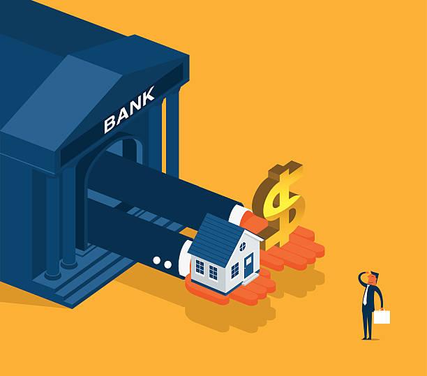 ilustraciones, imágenes clip art, dibujos animados e iconos de stock de actividades bancarias - hipotecas y préstamos